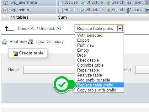 امنیت وردپرس دیتابیس replace table perfix