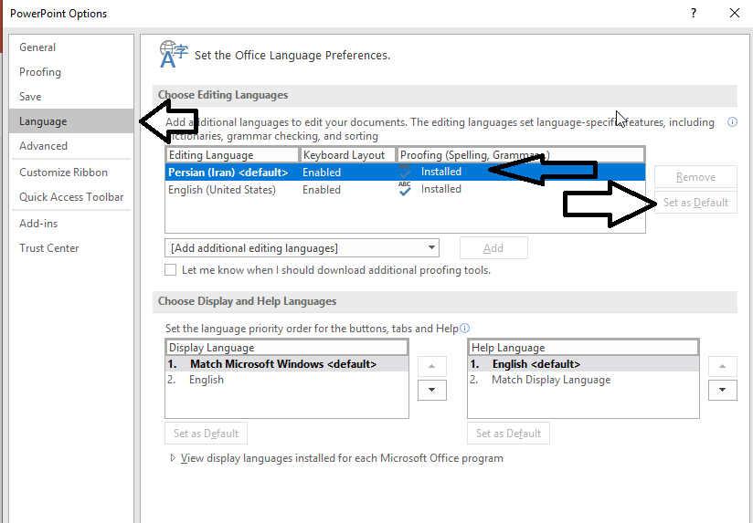 تنظیمات زبان در پاورپوینت